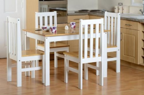 Ludlow 1+4 Dining Set  WHITE/OAK